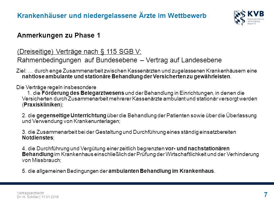 Vertragsarztrecht Dr. H. Schiller | 11.01.2016 7 Krankenhäuser und niedergelassene Ärzte im Wettbewerb Ziel: … durch enge Zusammenarbeit zwischen Kass