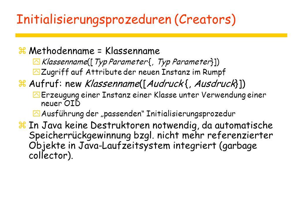 Initialisierungsprozeduren (Creators) zMethodenname = Klassenname yKlassenname([Typ Parameter {, Typ Parameter}]) yZugriff auf Attribute der neuen Ins
