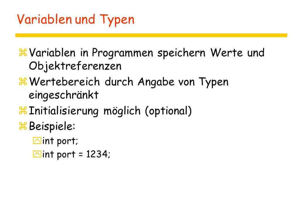 Zugriff auf Attribute zIm Rumpf von Methoden der definierenden Klasse direkt über Namen: yBeispiel: preis = 88; zIm Rumpf von Methoden außerhalb der definierenden Klasse: yInstanzenspezifische Attribute: r1.preis = 333; yStatische Attribute: Rechnung.mwst = 17;
