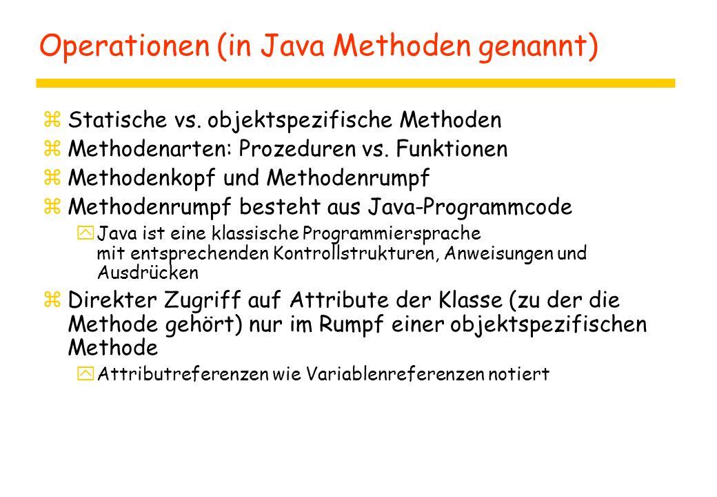 Operationen (in Java Methoden genannt) zStatische vs. objektspezifische Methoden zMethodenarten: Prozeduren vs. Funktionen zMethodenkopf und Methodenr