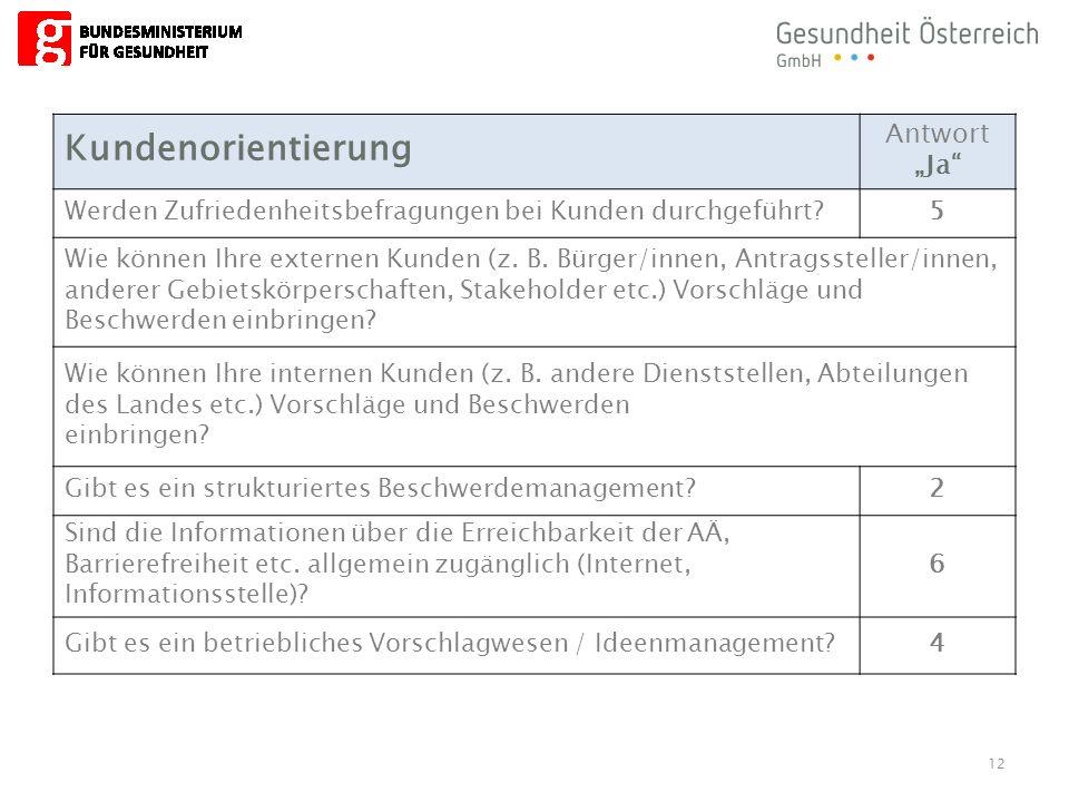 """12 Kundenorientierung Antwort """"Ja"""" Werden Zufriedenheitsbefragungen bei Kunden durchgeführt?5 Wie können Ihre externen Kunden (z. B. Bürger/innen, Ant"""