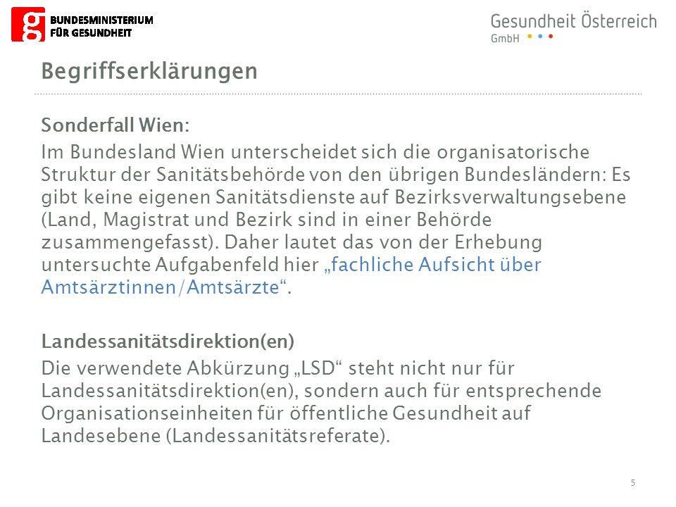 Begriffserklärungen Sonderfall Wien: Im Bundesland Wien unterscheidet sich die organisatorische Struktur der Sanitätsbehörde von den übrigen Bundeslän