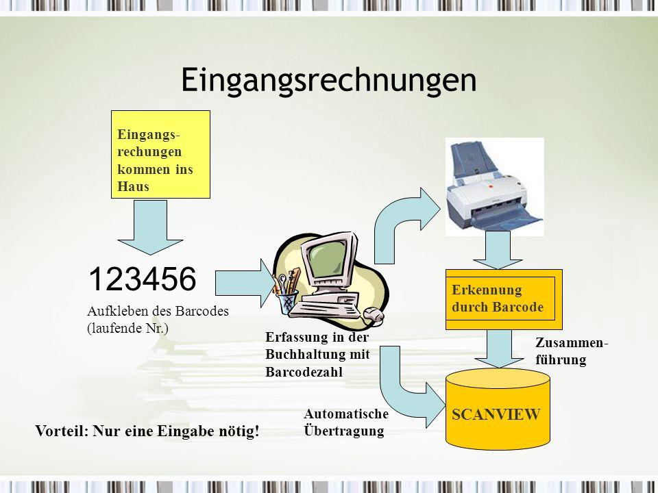 Eingangsrechnungen Eingangs- rechungen kommen ins Haus Erkennung durch Barcode Erfassung in der Buchhaltung mit Barcodezahl 123456 Aufkleben des Barcodes (laufende Nr.) SCANVIEW Automatische Übertragung Vorteil: Nur eine Eingabe nötig.