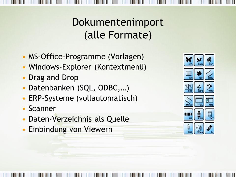 Dokumentenimport (alle Formate) MS-Office-Programme (Vorlagen) Windows-Explorer (Kontextmenü) Drag and Drop Datenbanken (SQL, ODBC,…) ERP-Systeme (vollautomatisch) Scanner Daten-Verzeichnis als Quelle Einbindung von Viewern