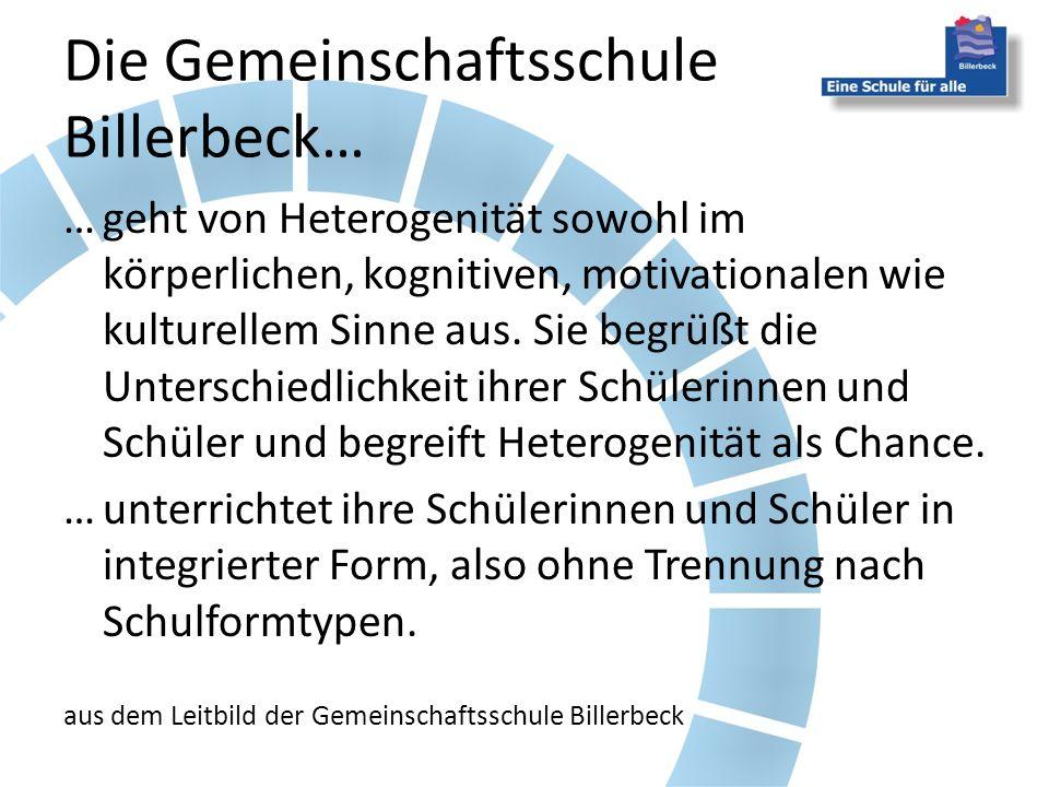 Die Gemeinschaftsschule Billerbeck… …geht von Heterogenität sowohl im körperlichen, kognitiven, motivationalen wie kulturellem Sinne aus.