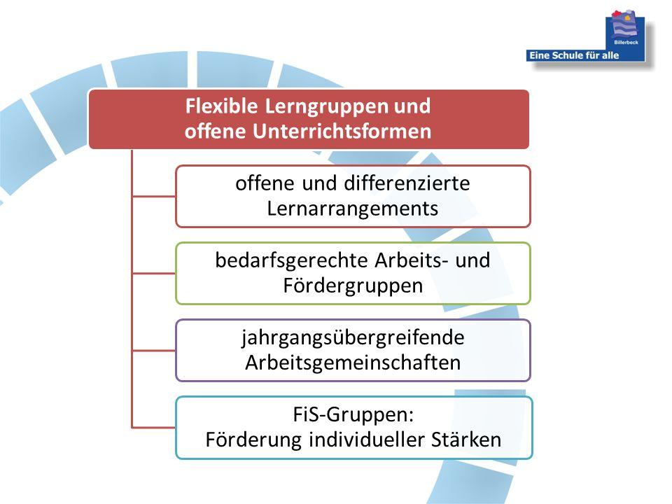 Flexible Lerngruppen und offene Unterrichtsformen offene und differenzierte Lernarrangements bedarfsgerechte Arbeits- und Fördergruppen jahrgangsübergreifende Arbeitsgemeinschaften FiS-Gruppen: Förderung individueller Stärken
