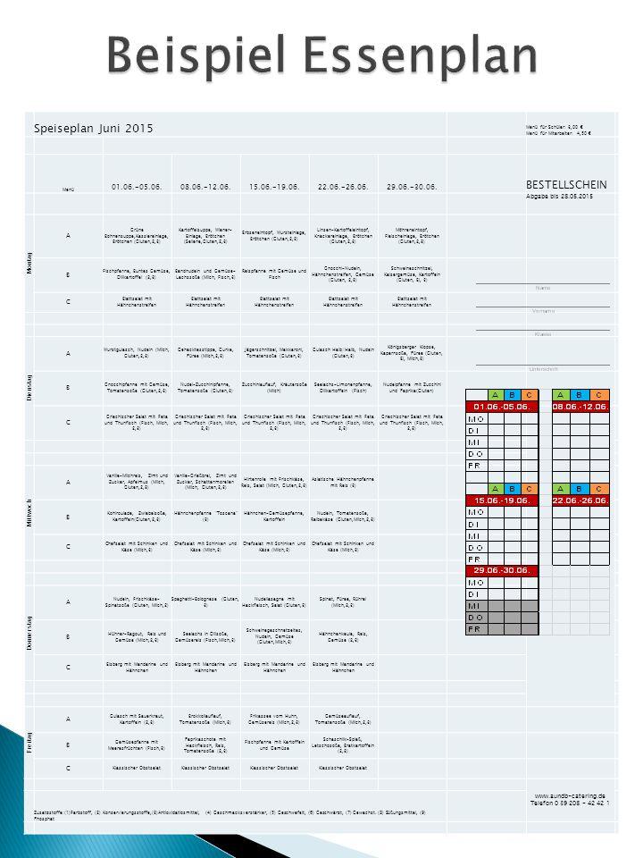 Speiseplan Juni 2015 Menü für Schüler: 3,00 € Menü für Mitarbeiter: 4,50 € Menü 01.06.-05.06.08.06.-12.06.15.06.-19.06.22.06.-26.06.29.06.-30.06.