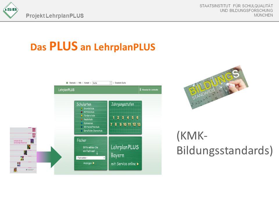 STAATSINSTITUT FÜR SCHULQUALITÄT UND BILDUNGSFORSCHUNG MÜNCHEN STAATSINSTITUT FÜR SCHULQUALITÄT UND BILDUNGSFORSCHUNG MÜNCHEN Das PLUS an LehrplanPLUS Projekt LehrplanPLUS (KMK- Bildungsstandards)