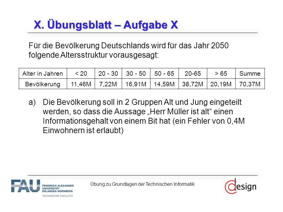 X. Übungsblatt – Aufgabe X Für die Bevölkerung Deutschlands wird für das Jahr 2050 folgende Altersstruktur vorausgesagt: a)Die Bevölkerung soll in 2 G