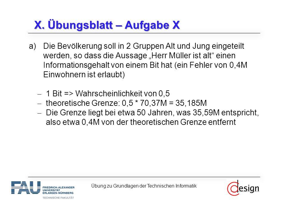 X. Übungsblatt – Aufgabe X Übung zu Grundlagen der Technischen Informatik a)Die Bevölkerung soll in 2 Gruppen Alt und Jung eingeteilt werden, so dass