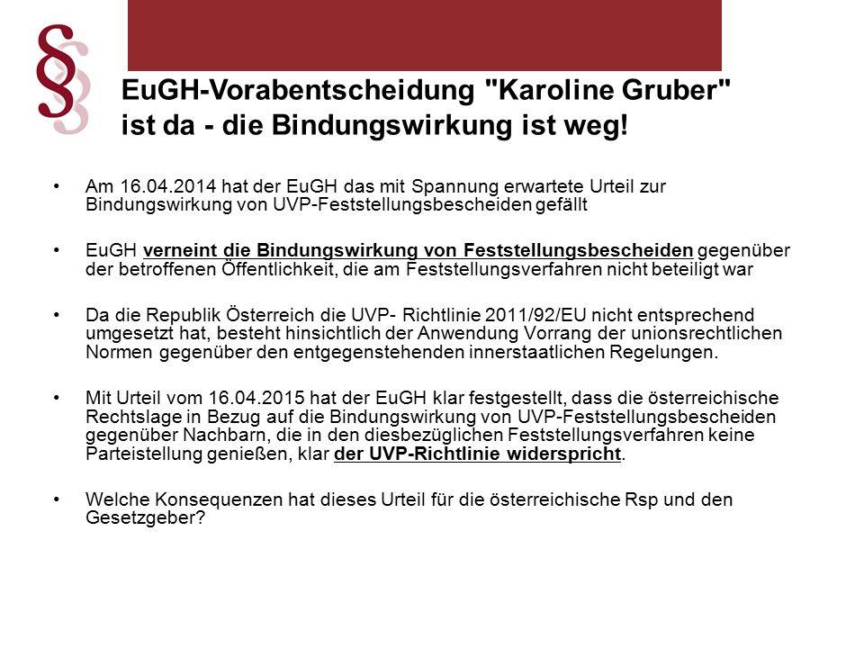 EuGH-Vorabentscheidung Karoline Gruber ist da - die Bindungswirkung ist weg.