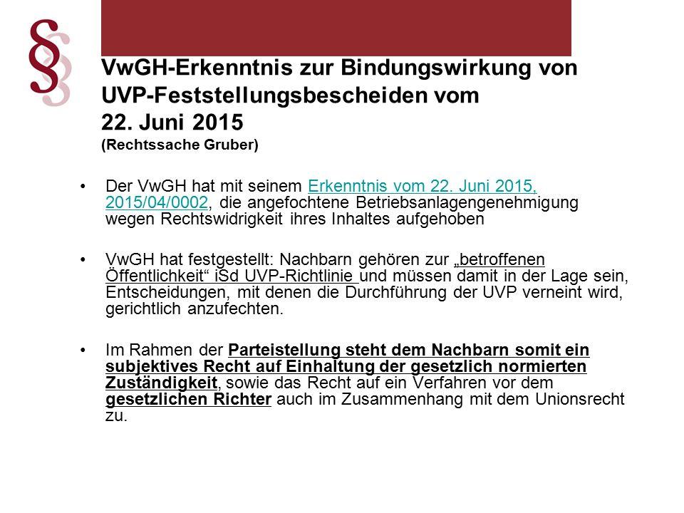 VwGH-Erkenntnis zur Bindungswirkung von UVP-Feststellungsbescheiden vom 22.
