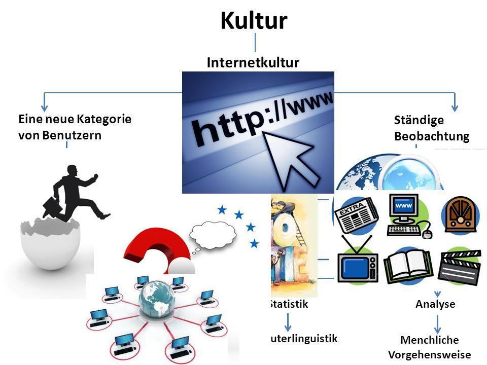 Kultur Eine neue Kategorie von Benutzern Ständige Beobachtung Internetkultur Demokratisierung des Wissens bzw. der Wissensquellen Jugendkultur (ttt St