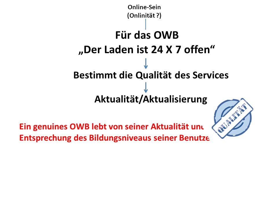"""Online-Sein (Onlinität ?) Bestimmt die Qualität des Services Für das OWB """"Der Laden ist 24 X 7 offen Aktualität/Aktualisierung Ein genuines OWB lebt von seiner Aktualität und von seiner Entsprechung des Bildungsniveaus seiner Benutzer."""