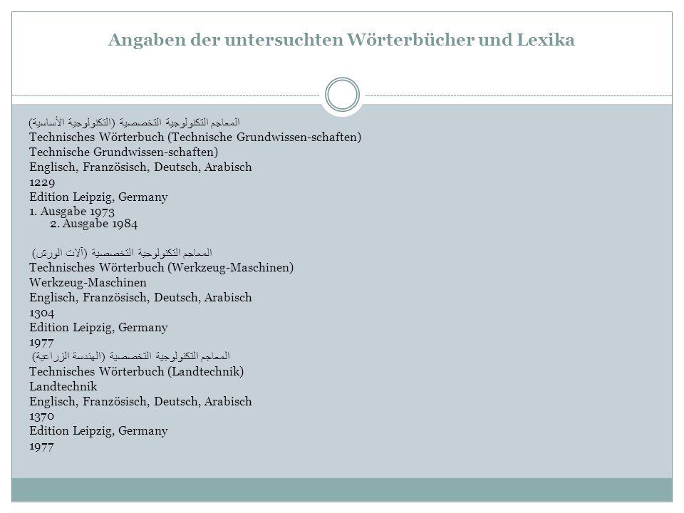 Angaben der untersuchten Wörterbücher und Lexika المعاجم التكنولوجية التخصصية ( التكنولوجية الأساسية ) Technisches Wörterbuch (Technische Grundwissen-schaften) Technische Grundwissen-schaften) Englisch, Französisch, Deutsch, Arabisch 1229 Edition Leipzig, Germany 1.