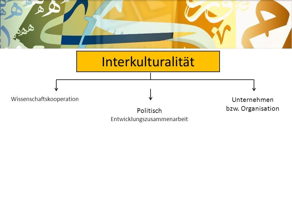 ً Interkulturalität Wissenschaftskooperation Unternehmen bzw. Organisation Politisch Entwicklungszusammenarbeit