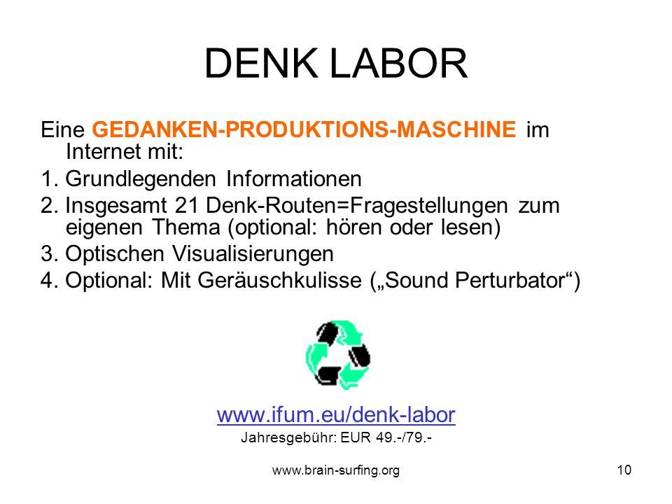 www.brain-surfing.org9 BRAIN SURFING: ABLAUF (Durchführung:mit Buch oder im Denk Labor) I) Vorbereitung II) Durchführung: ca.