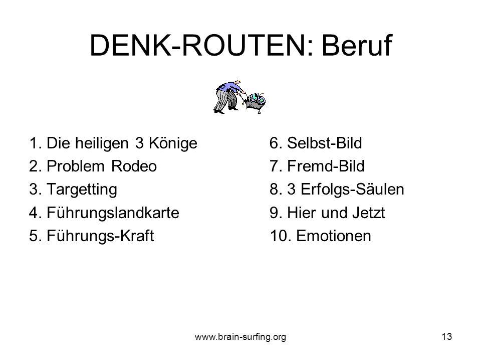 www.brain-surfing.org12 DENK-ROUTEN: Privat und Alltag 1. Die heiligen 3 Könige6. Weinorakel 2. Problem Rodeo7. 3 Felder Exkursion 3. Targetting8. Kre