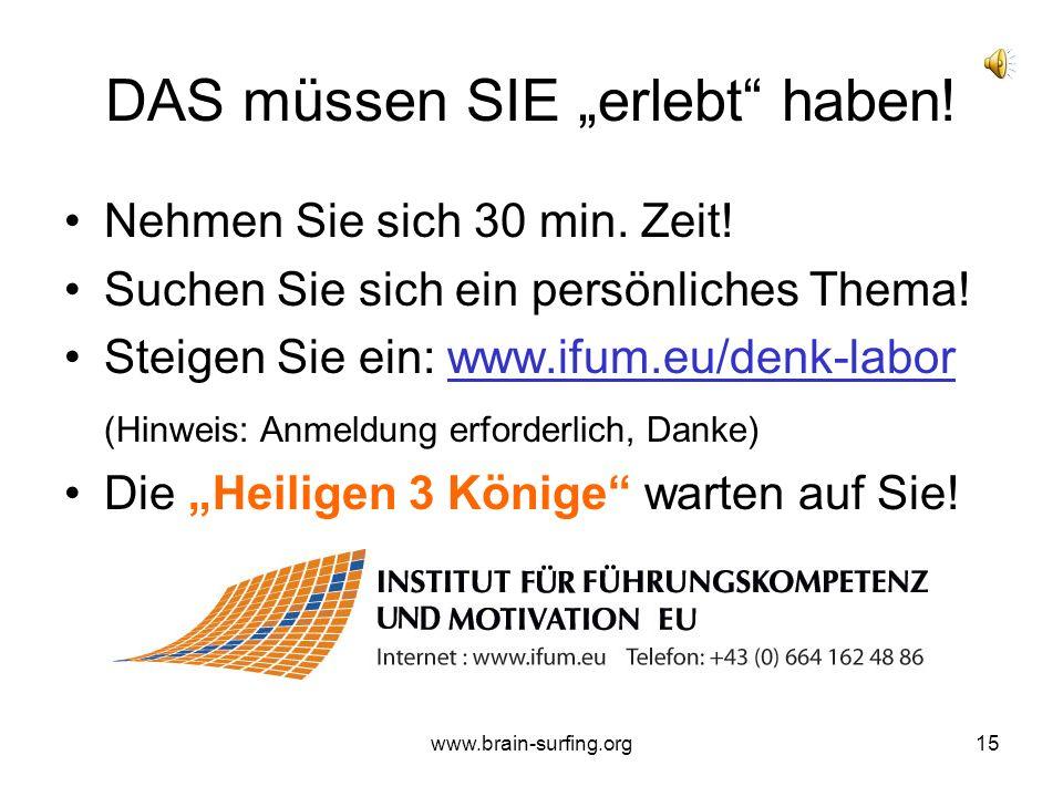 """www.brain-surfing.org14 THEMEN-BEISPIELE """"Wie kann ich besser werden?"""" Vorbereitung auf jährliches MAG, Einzelgespräche oder Teambesprechungen """"Ich fü"""
