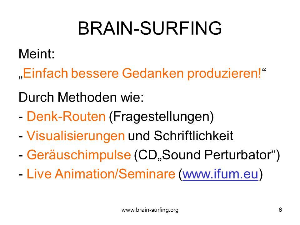 www.brain-surfing.org5 GEDANKENFITNESS Die FÄHIGKEIT - mehr - besser - wirksamer GEDANKEN erzeugen zu können! ANTWORTEN/LÖSUNGEN finden können! VORSTE