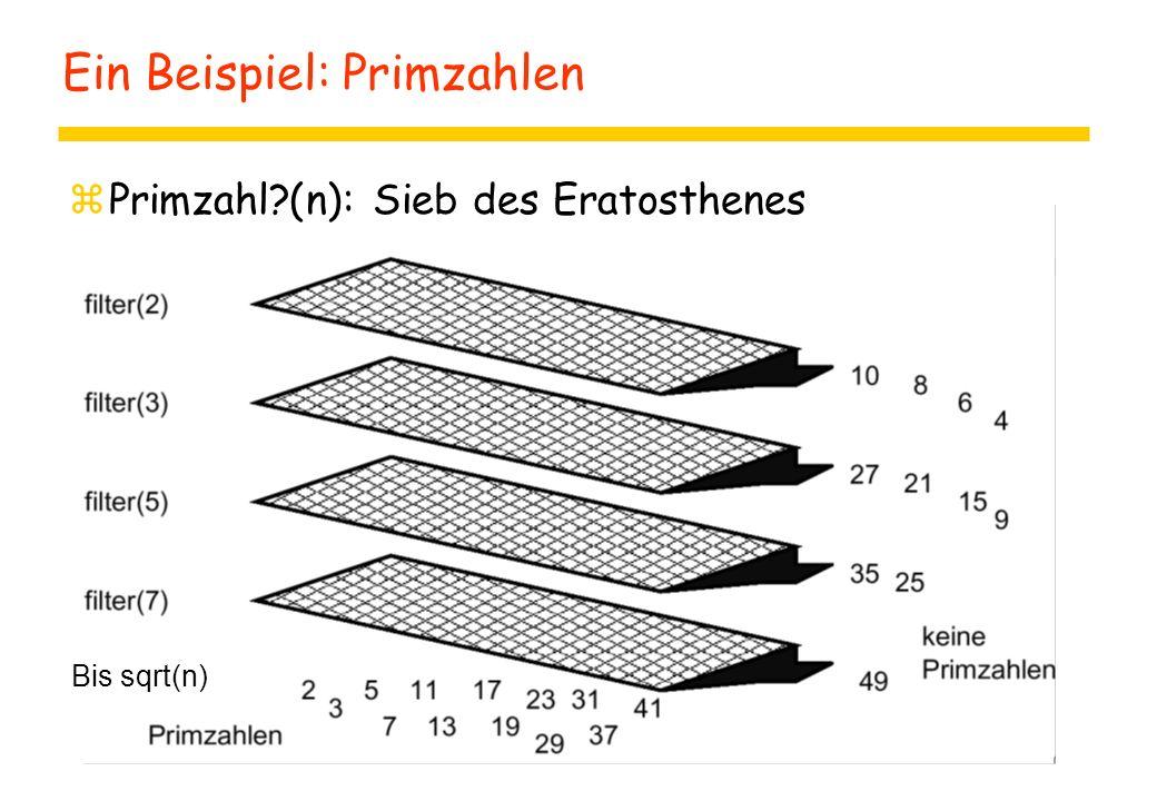 Ein Beispiel: Primzahlen zPrimzahl (n): Sieb des Eratosthenes Bis sqrt(n)