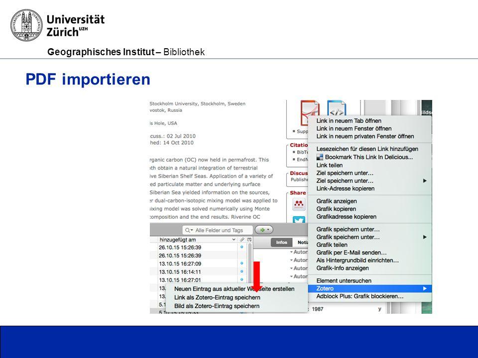 Geographisches Institut – Bibliothek Seite 10 Webseite importieren