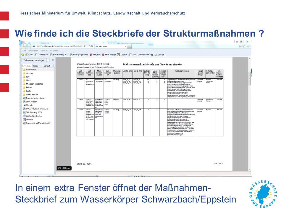 Hessisches Ministerium für Umwelt, Klimaschutz, Landwirtschaft und Verbraucherschutz Wie finde ich die Steckbriefe der Strukturmaßnahmen .
