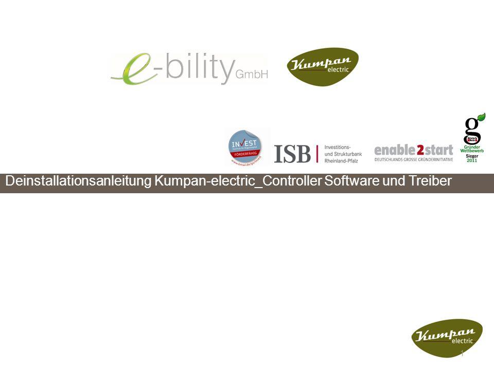 """Deinstallationsanleitung Kumpan-electric_Controller Software Anleitung zur Deinstallation von """"Kumpan-electric_Controller Software ."""