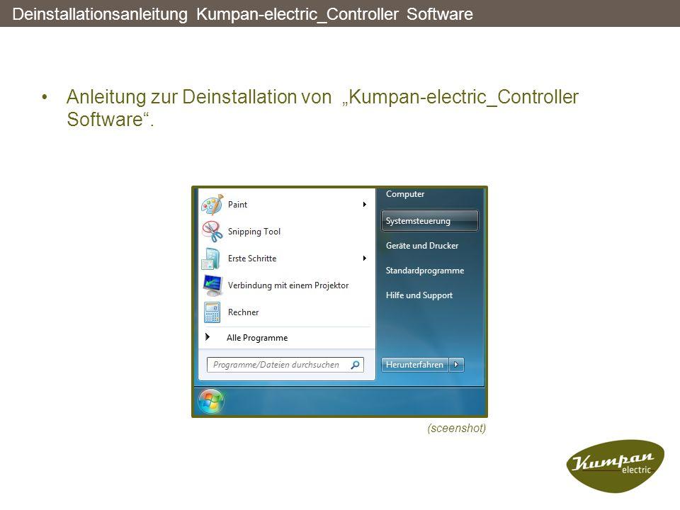 """Deinstallationsanleitung Kumpan-electric_Controller Software Anleitung zur Deinstallation von """"Kumpan-electric_Controller Software"""". (sceenshot)"""