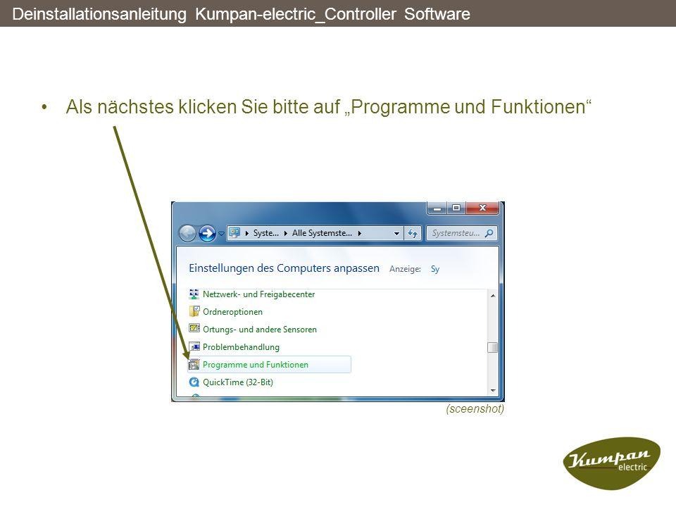 """Als nächstes klicken Sie bitte auf """"Programme und Funktionen"""" Deinstallationsanleitung Kumpan-electric_Controller Software (sceenshot)"""