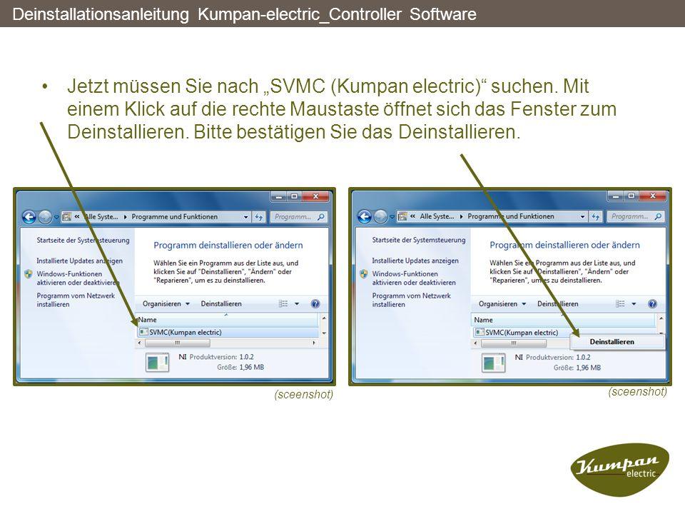 """Jetzt müssen Sie nach """"SVMC (Kumpan electric)"""" suchen. Mit einem Klick auf die rechte Maustaste öffnet sich das Fenster zum Deinstallieren. Bitte best"""