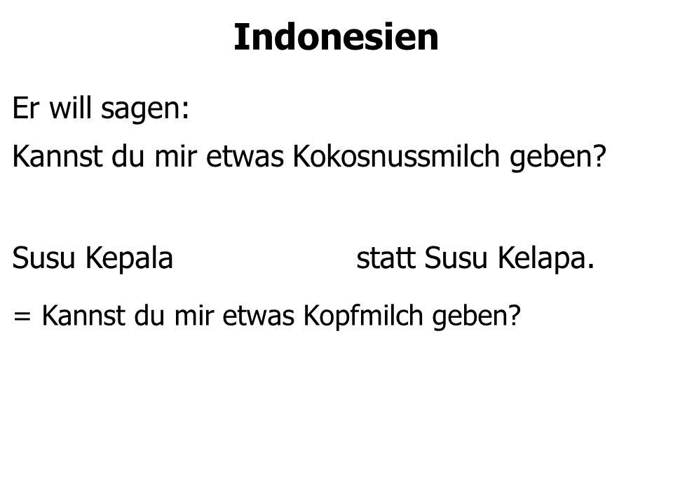 Indonesien Er will sagen: Kannst du mir etwas Kokosnussmilch geben.