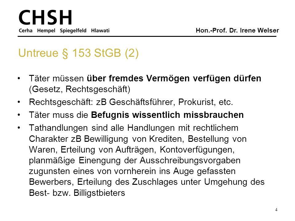 Hon.-Prof. Dr. Irene Welser Untreue § 153 StGB (2) Täter müssen über fremdes Vermögen verfügen dürfen (Gesetz, Rechtsgeschäft) Rechtsgeschäft: zB Gesc