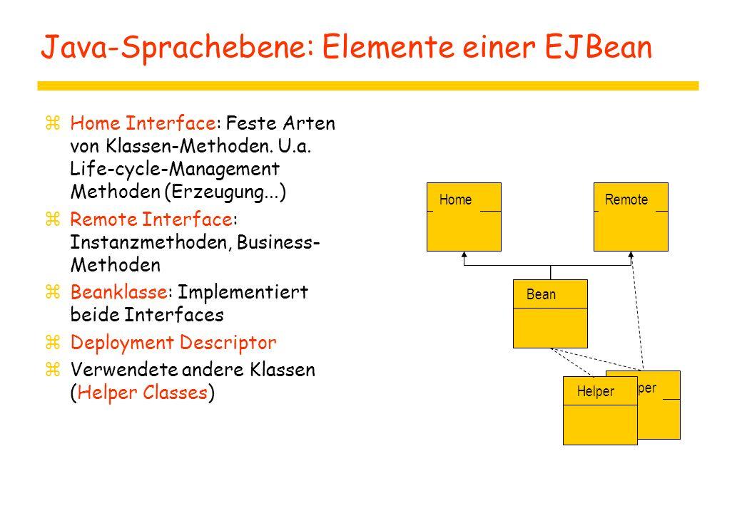 Java-Sprachebene: Elemente einer EJBean zHome Interface: Feste Arten von Klassen-Methoden. U.a. Life-cycle-Management Methoden (Erzeugung...) zRemote