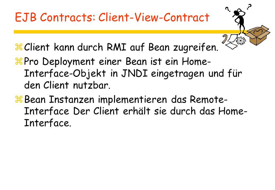 EJB Contracts: Client-View-Contract zClient kann durch RMI auf Bean zugreifen. zPro Deployment einer Bean ist ein Home- Interface-Objekt in JNDI einge