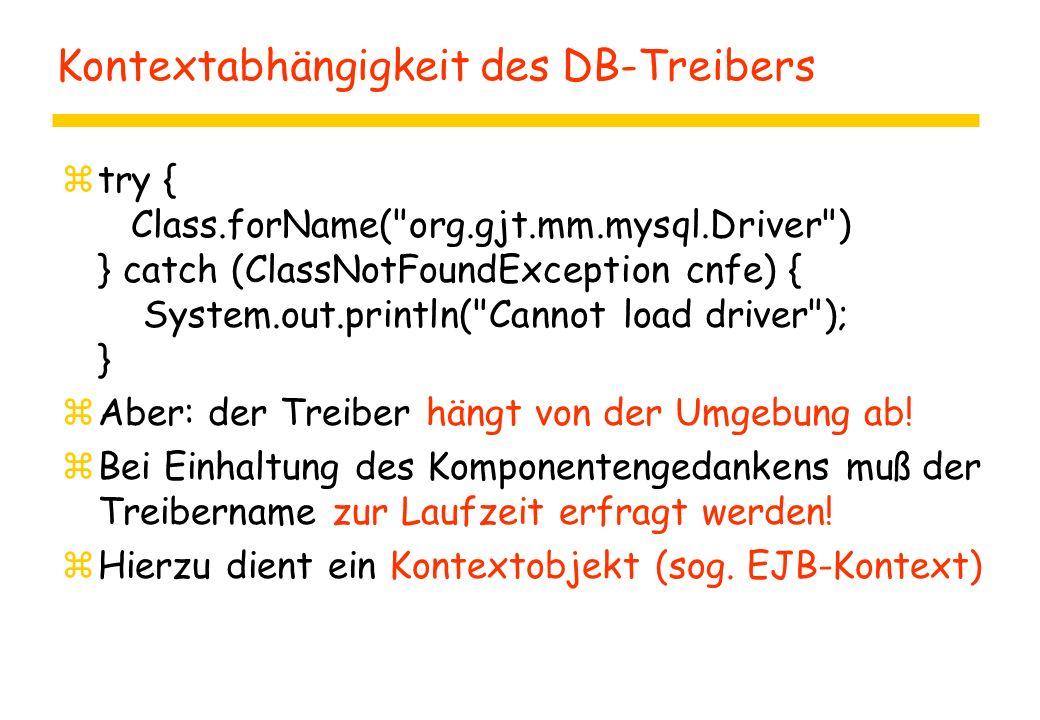 Kontextabhängigkeit des DB-Treibers ztry { Class.forName( org.gjt.mm.mysql.Driver ) } catch (ClassNotFoundException cnfe) { System.out.println( Cannot load driver ); } zAber: der Treiber hängt von der Umgebung ab.