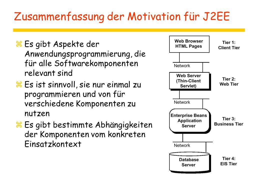 Zusammenfassung der Motivation für J2EE zEs gibt Aspekte der Anwendungsprogrammierung, die für alle Softwarekomponenten relevant sind zEs ist sinnvoll, sie nur einmal zu programmieren und von für verschiedene Komponenten zu nutzen zEs gibt bestimmte Abhängigkeiten der Komponenten vom konkreten Einsatzkontext