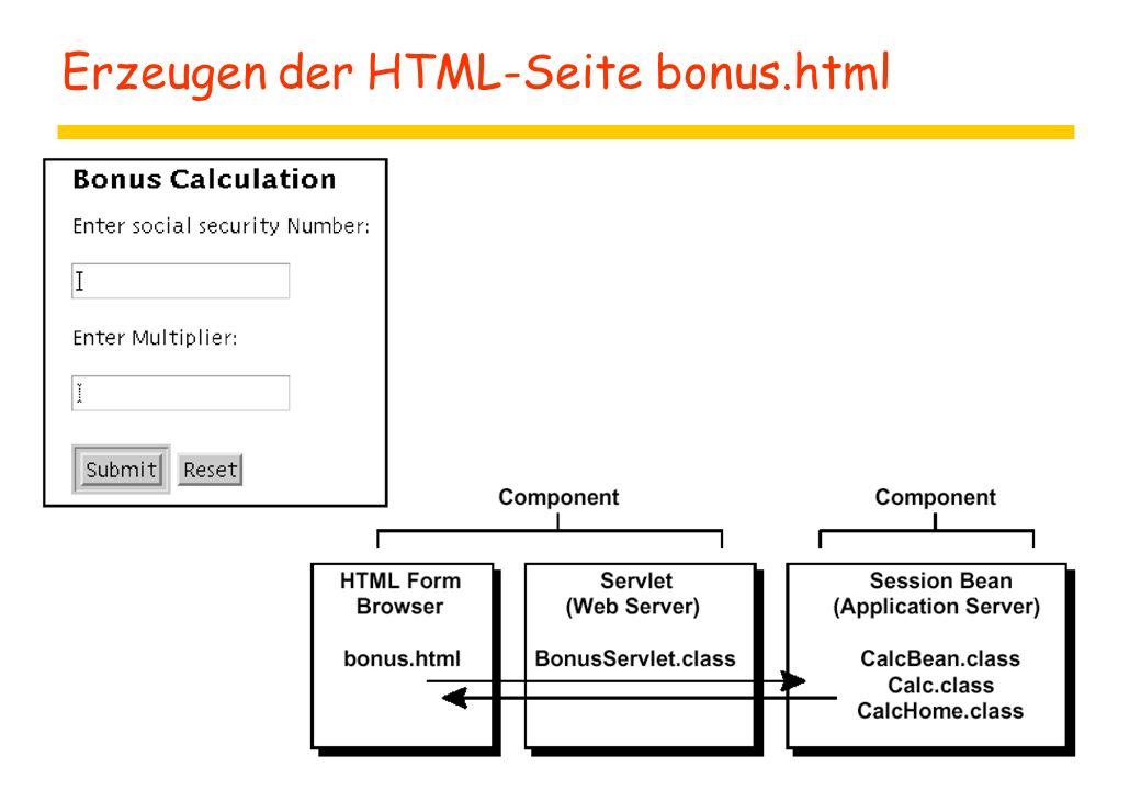 Erzeugen der HTML-Seite bonus.html