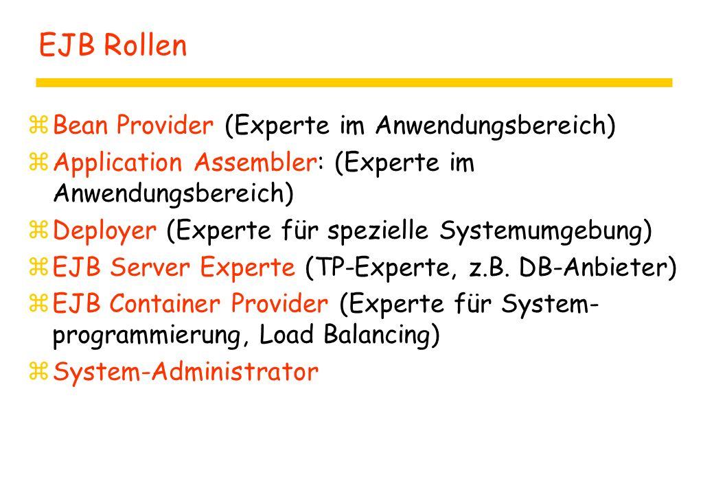 EJB Rollen zBean Provider (Experte im Anwendungsbereich) zApplication Assembler: (Experte im Anwendungsbereich) zDeployer (Experte für spezielle Systemumgebung) zEJB Server Experte (TP-Experte, z.B.