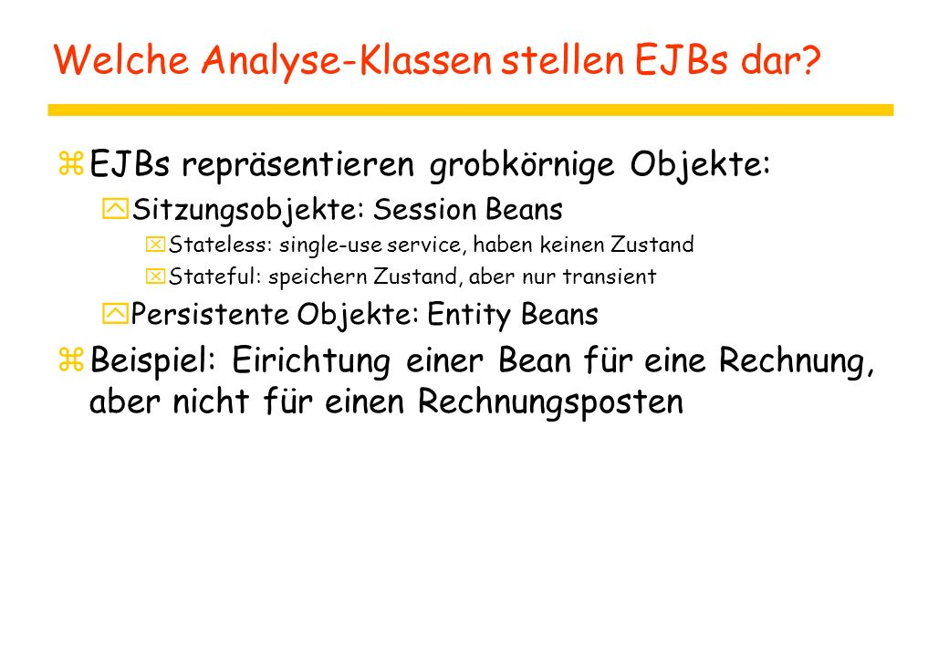Verbindungen im EJB-Kontext (ohne Pool) import java.sql.*; import javax.sql.*; public class AccountBean implements EntityBean { public Collection ejbFindByLastName(String lName) { try { String dbdriver = new InitialContext().lookup( java:comp/env/DBDRIVER ).toString(); Class.forName(dbdriver).newInstance(); Connection conn = DriverManager.getConnection( java:comp/env/DBURL , userID , password ); conn.close(); }}