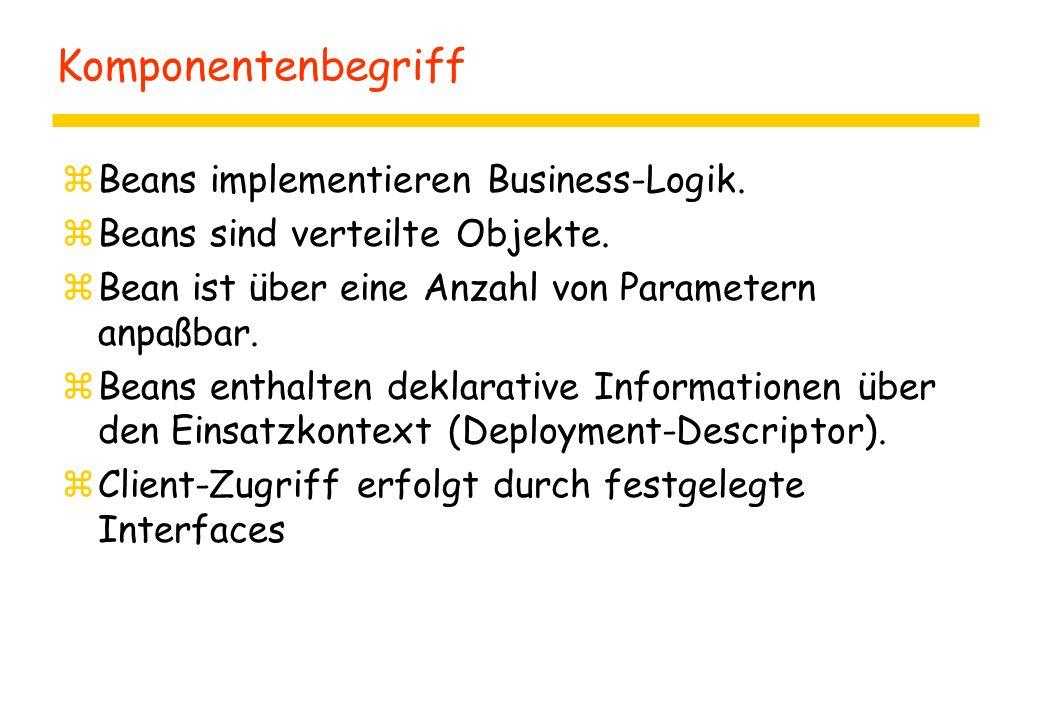 Komponentenbegriff zBeans implementieren Business-Logik. zBeans sind verteilte Objekte. zBean ist über eine Anzahl von Parametern anpaßbar. zBeans ent