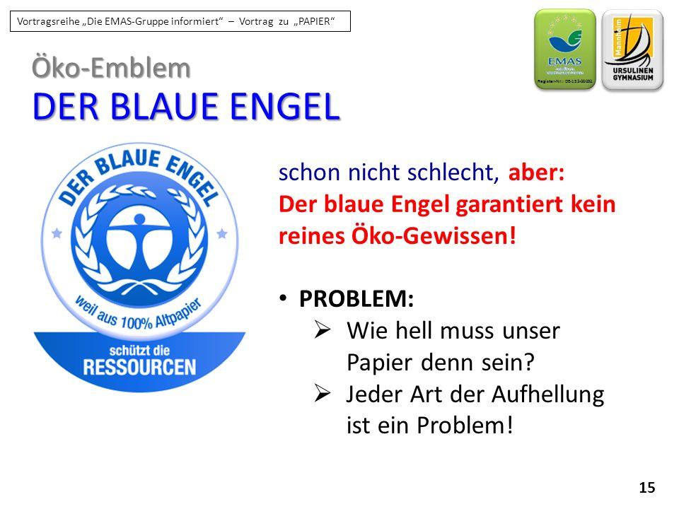 """15 Register-Nr.: DE-153-00092 Vortragsreihe """"Die EMAS-Gruppe informiert"""" – Vortrag zu """"PAPIER"""" schon nicht schlecht, aber: Der blaue Engel garantiert"""