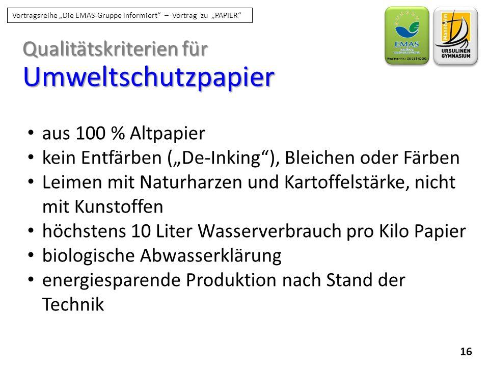 """16 Register-Nr.: DE-153-00092 Vortragsreihe """"Die EMAS-Gruppe informiert"""" – Vortrag zu """"PAPIER"""" Qualitätskriterien für Umweltschutzpapier aus 100 % Alt"""