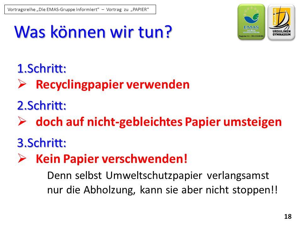 """18 Register-Nr.: DE-153-00092 Vortragsreihe """"Die EMAS-Gruppe informiert"""" – Vortrag zu """"PAPIER"""" Was können wir tun? 1.Schritt:  Recyclingpapier verwen"""
