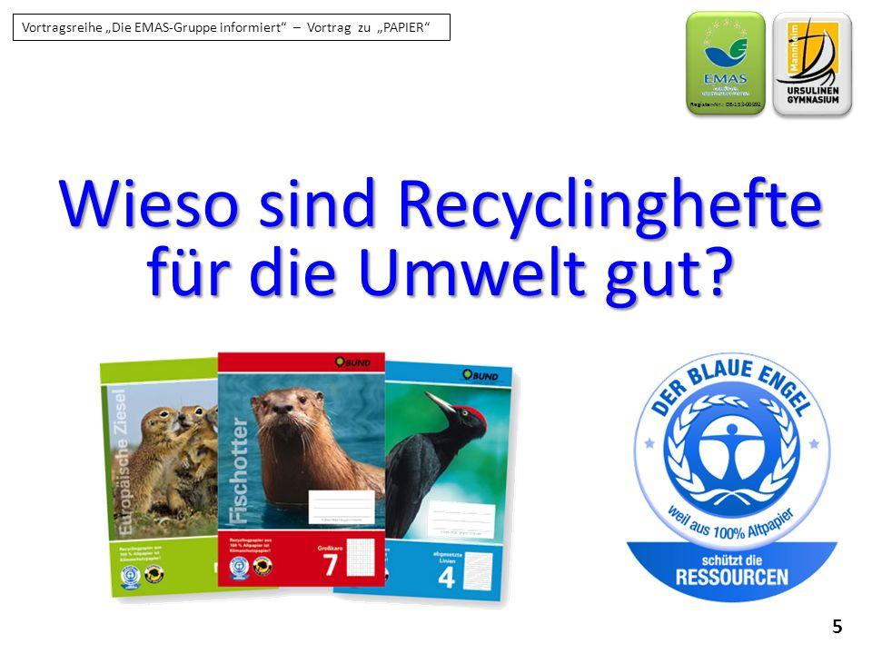 """6 Register-Nr.: DE-153-00092 Vortragsreihe """"Die EMAS-Gruppe informiert – Vortrag zu """"PAPIER Motivation """"Wir sammeln in Deutschland mit 80% Rücklauf Altpapier wie die Weltmeister, aber kaufen und auch nutzen wollen wir das Recyclingpapier dann doch nicht … Verpackungsindustrie: fast 100% Recyclingpapier Verbraucher – Bürobedarf: nur 13% Recyclingpapier"""