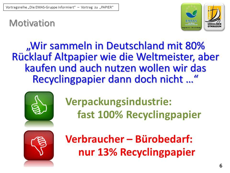 """17 Register-Nr.: DE-153-00092 Vortragsreihe """"Die EMAS-Gruppe informiert – Vortrag zu """"PAPIER Kopierpapier am UGM KLIPRIMA-Recyclingpapier seit 2015: KLIPRIMA-Recyclingpapier  De-inked, gebleicht  aus 80 % Altpapier  Hersteller nutzt Wasserkraft-Energie MIX Aus verantwortungs- Vollen Quellen FSC C015523"""