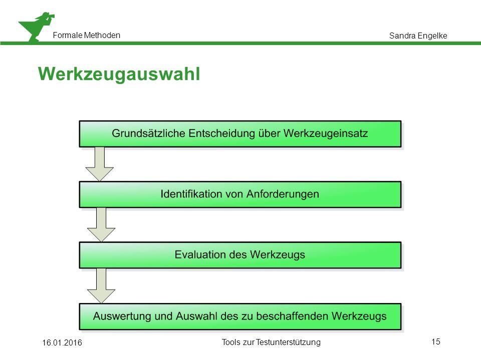 Formale Methoden 15 16.01.2016 Tools zur Testunterstützung Werkzeugauswahl Sandra Engelke