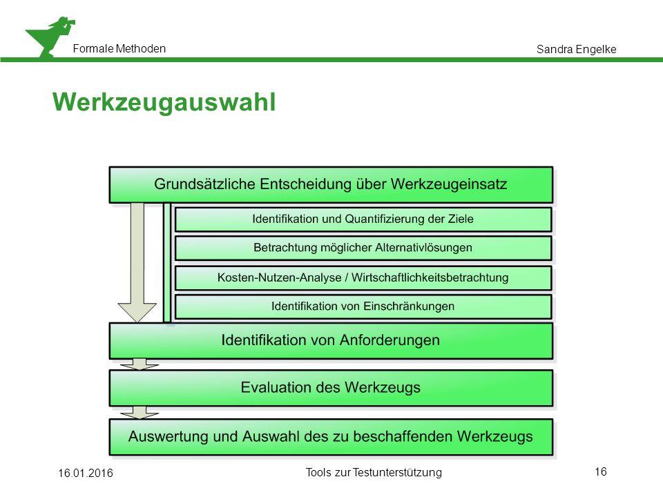 Formale Methoden 16 16.01.2016 Tools zur Testunterstützung Werkzeugauswahl Sandra Engelke