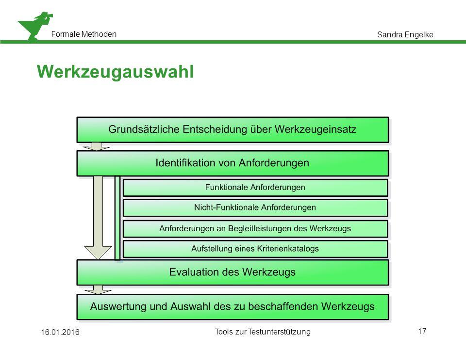 Formale Methoden 17 16.01.2016 Tools zur Testunterstützung Werkzeugauswahl Sandra Engelke