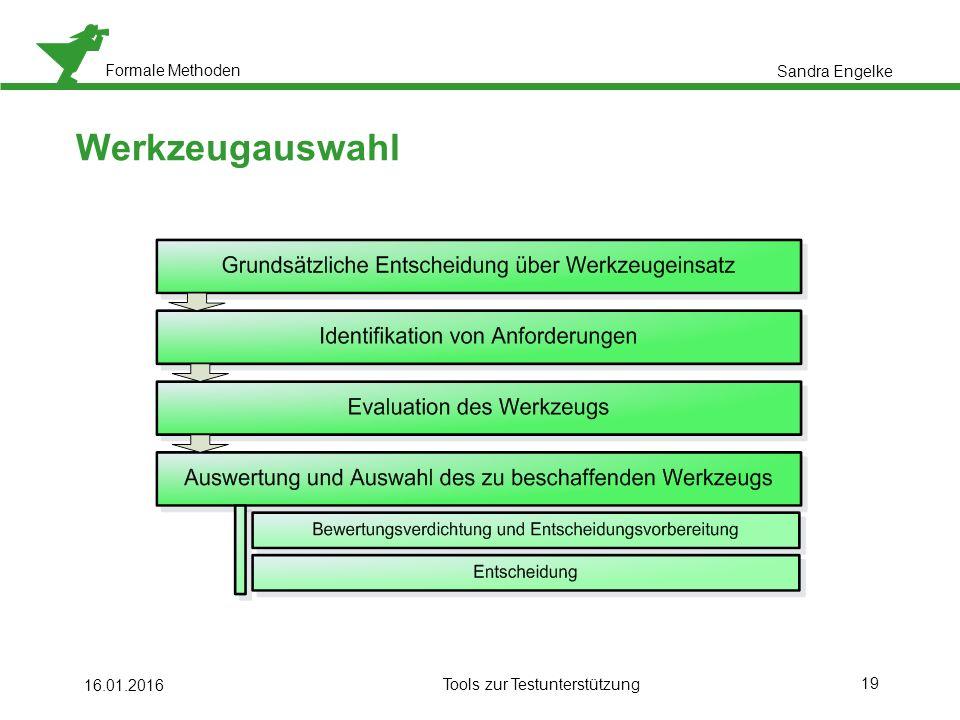 Formale Methoden 19 16.01.2016 Tools zur Testunterstützung Werkzeugauswahl Sandra Engelke